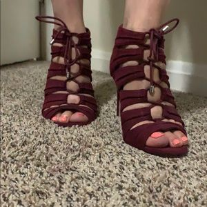 Burgundy high heels with lace detail